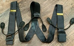 ZIGZAG Suspenders Braces, Gray & Black, Leather Fittings, EXCELLENT!