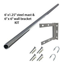 "6' ft mast STEEL 1.25"" inch pole TV aerial mounting + 6""x6"" bracket fixing KIT"