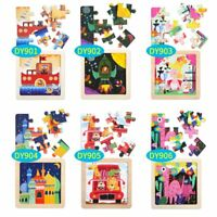 9 PCS Jigsaw Toy for Toddlers Children Kids Baby Wooden Educational Puzzle Gift
