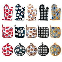 4-Piece Kitchen Set Quilted Cotton Oven Mitts and Potholders BBQ Cooking Gloves