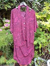Burgundy & Pink Skirt Suit Tunic, Top, Blouse + Scarf - Size 26, 28, 30 or 32