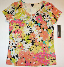 NWT Rafaella Women's Yellow Orange Floral Print Cotton Top U Neckline M