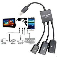 3in1 Micro USB HUB Macho a Hembra Y Doble Usb 2.0 Host OTG Cable adaptador-otga