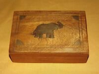 VINTAGE  BRASS INLAY  ELEPHANT WOOD TRINKET ORGANIZER VELVET LINED BOX
