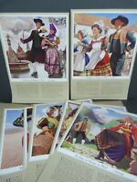 Lot of 12 vintage 1960s posters Costumes of Europe in Wool A3 size shop display