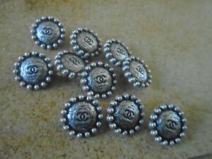 lot boutons chanel métal argenté 1cm ,,