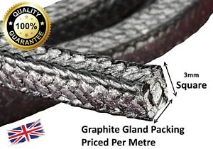 """GLAND PACKING ROPE / SHAFT SEAL - 3MM (1/8"""") SQ. SOLD PER METRE"""