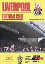 Football Programme>LIVERPOOL v NORWICH CITY Jan 1986 FAC