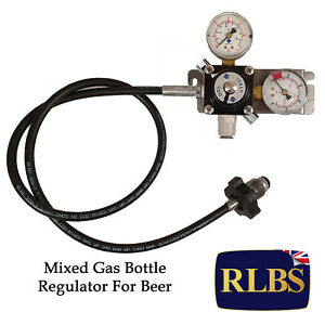 Mixed Gas Primary Gas Bottle Regulator (Wall Mount) with 2 Gauges Beer Lager Keg