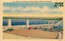 SEATTLE WA LAKE WASHINGTON PONTOON BRIDGE POSTCARD c1945