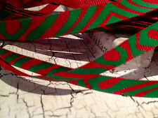 """3/8"""" CHRISTMAS RED AND GREEN ZEBRA Grosgrain Ribbon sold by the yard"""