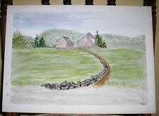 VINTAGE PLEIN AIR STONE WALK WAY BROWN HOUSE LANDSCAPE FOLK ART NAIVE PAINTING