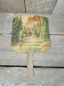 Vintage Advertising Hand fan Maplewood Dairy Eagle Grove IA Ph 155 Fly Fishing