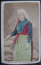 Photo Emile Mage Brest Albumen Cdv Costume Plougastel Bretonne Bretagne 1870