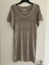 Lovely Ladies M&S Beige/Mink, Medium/Fine Knit Cap Sleeve Long Jumper - Size 16