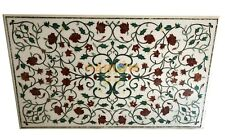 6'x3' Marble Dining Table Top Precious Mosaic Inlaid Handmade Work Decor W068