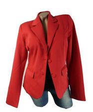 Damen Blazer Langarm Jacke Anzug Knopf Einreihiger Verschluss Rot Gr 42-44