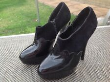 Office Size 5 Ladies Black  Suede And Patent Leather Shoe Boots.my Ref 7608