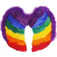 RAINBOW FEATHER WINGS ADULT FANCY DRESS COSTUME ACCESSORY LARGE 55CM X 50CM