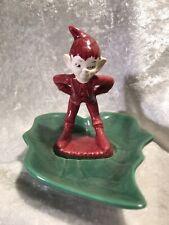 Vintage Gilner Maroon Pixie Elf Leaf Dish