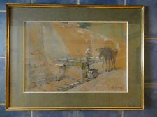 ancien tableau pastel et gouache signe SUZLY B (XX ème) mulet près d un lavoir
