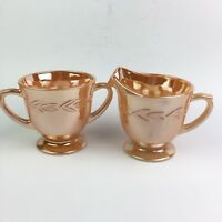 Vtg Anchor Hocking Fire King Peach Lustre Laurel Leaf Sugar Bowl Creamer Pitcher