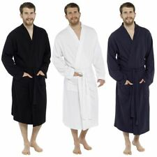 Mens 100% Cotton Waffle Robe Dressing Gown Wrap Black Navy White