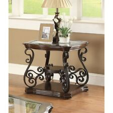 Metal Glass Top End Table Nightstand Scroll Work Shelf Furniture Living Room New