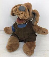 Vintage Wrinkles Dog Puppet Puppy Vintage Plush Toy Overalls