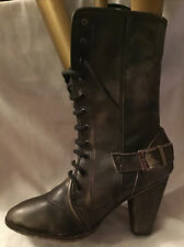 Unbranded Ladies Leather Grey Mid Calf Boots In Good Con Size UK 6