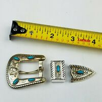 "Vintage 3 Piece Western Ranger Belt Buckle Set for 3/4"" Belt NOS"