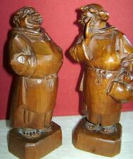 Vintage German Wood Carved Monk Figurines Oberammergau