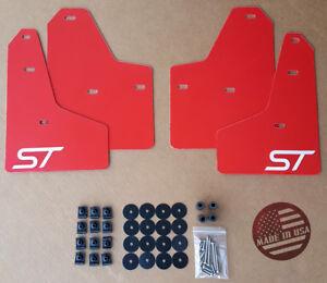 [SR] 2011-2018 Ford FOCUS ST SE S Mud Guard Flaps Set RED w/ Logo & Hardware Kit