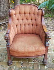 Opulent Antique 19c Victorian Carved Wood Lion Head Bergere Armchair w/ Paw Feet
