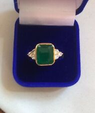 2.45Ct Emerald Cut Green Emerald Antique Vintage Ring 14Carat Yellow Gold Over