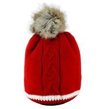 Cappello Neonato Invernale Pon Pon 12 - 24 mesi Berretto felpato Rosso 1 2 anni