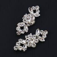 2PCS Flower Rhinestone Crystal High Heel Shoe Clips Buckle Wedding Bridal Decor