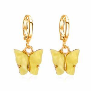 Fashion Butterfly Acrylic Hoop Earrings Dangle Drop Women Wedding Party Jewelry