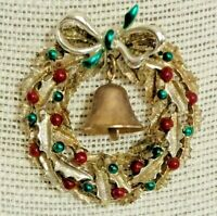 Vintage Gold Tone Red Green Enamel Christmas Wreath Dangle Bell Pin Brooch 2""