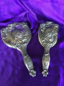 Antique Victorian Hairbrush And Hand Mirror Quadruple Plate
