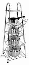 Buckingham Chrome Plated 5 Tier Saucepan Pan Pot Stand Holder Kitchen
