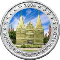 2 Euro Gedenkmünze BRD / Deutschland 2006 Holstentor coloriert Farbe / Farbmünze