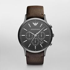 Emporion Armani AR2462 Renato  Gunmetal Black Brown Leather Analog Men's Watch
