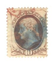 Scott 150 Early US Stamp 10c Jefferson ..1870-71.. Red and Blue Cancel