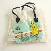 Vintage Mod Raincoat Women's PVC Translucent Vinyl Plastic 60s 70s Hood M