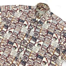 Crossings Fishing Rod Reel Print Button Down Shirt Men's Size Med Short Sleeve