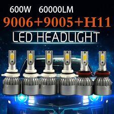 3SET Combo COB Light + High Low Beam LED Headlight Bulb 9005 + 9006 + H11 kit
