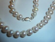 """Cultured Pearl 20"""" NECKLACE AA+ White 7-9mm big ster clasp knotted silk Vintage"""