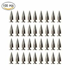 100 Pack 15mm Bullet Cone Spike and Stud Metal Screw Back for Diy Leather Craft