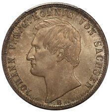 1869-B Germany Saxony Thaler Silver Coin DAV-895 - PCGS MS 64 - KM# 1214